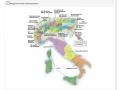 Mapa Włoch i Alp podzielona na strefy.