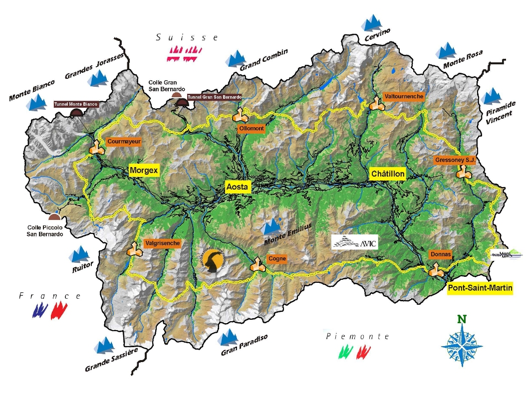 Mapa trasy Tor des Geants. Żródło www.lovevda.it