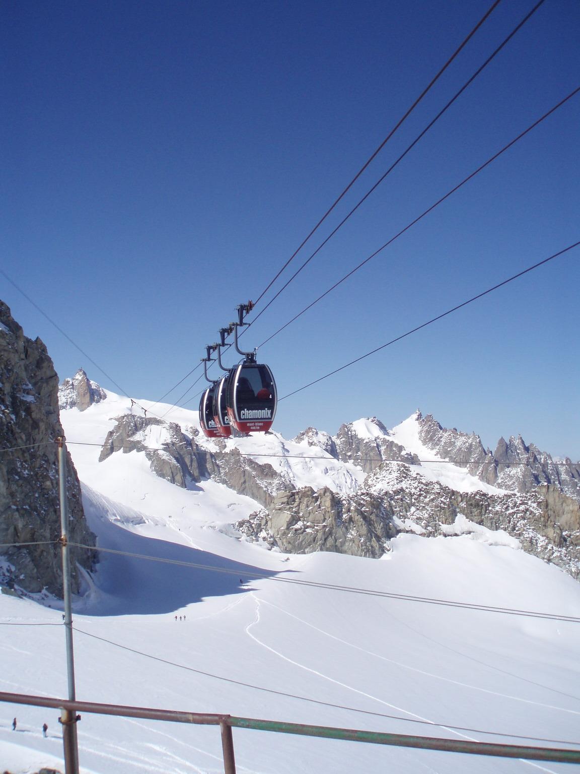 Kolejka linowa z Punta Helbronner do francuskiego Chamoix-Mont-Blanc.