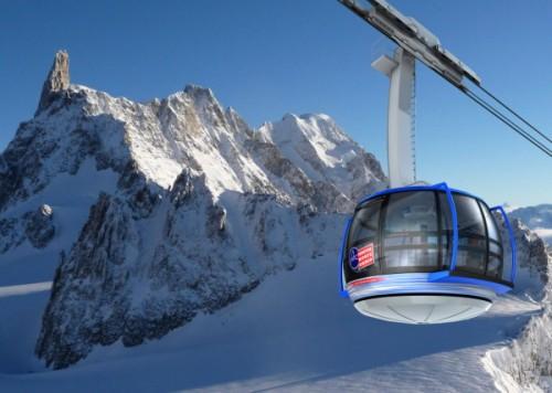 Nowa calkowicie przeszklona kabina kolejki Mont Blanc, pozwalajaca na podziwianie widokow o 360°