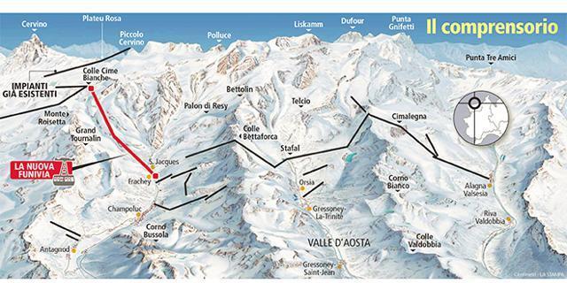 Mapa wyciągów ośrodka Monterosa SKI