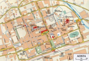 Mapa centrum Aosty, aby powiększyć kliknij w zdjęcie.