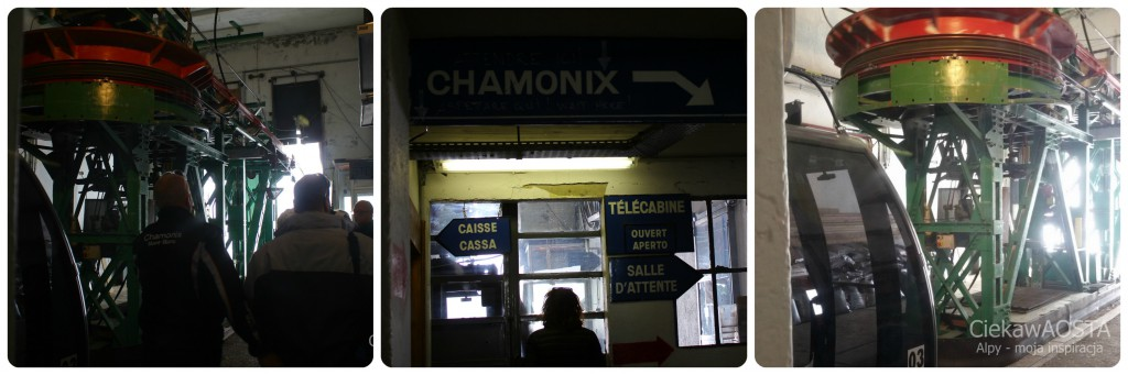 Stacja kolejki odjeżdzającej do Aiguille du Midi z Punta Helbronner.