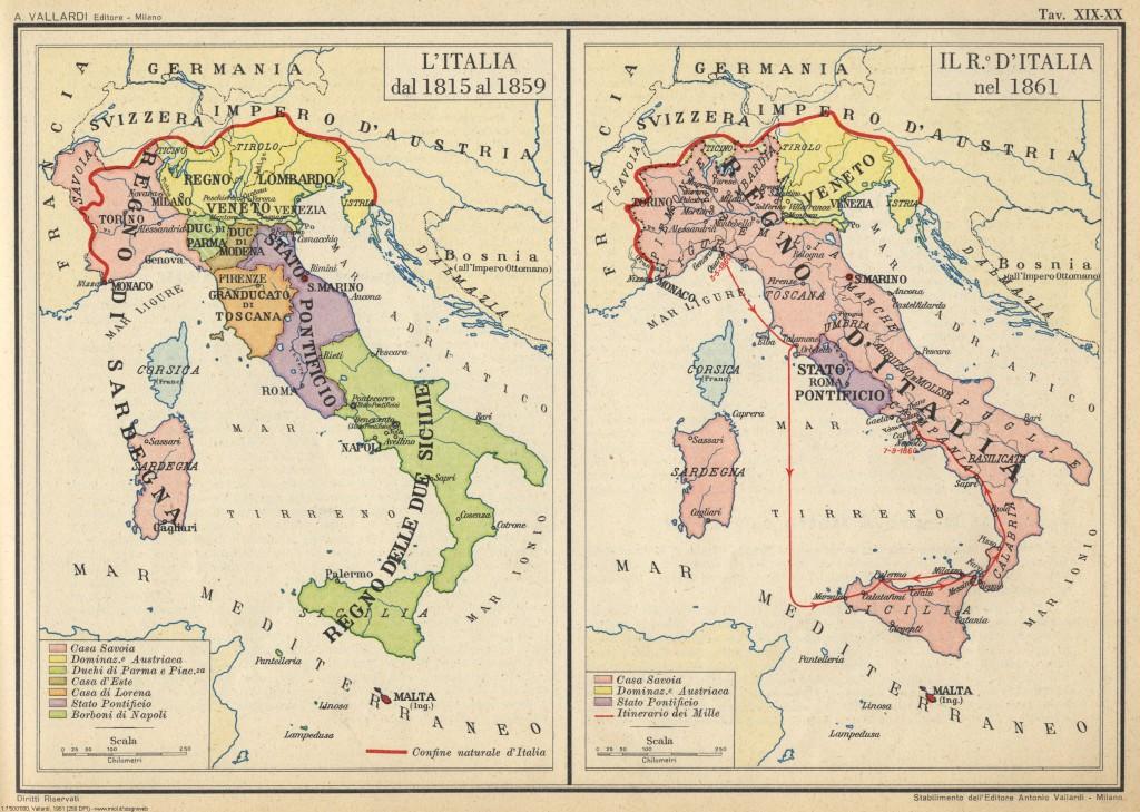 Mapa Włoch przed i po Zjednoczeniu.