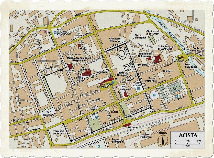 Mapa Aosty. Centrum z głównymi zabytkami.