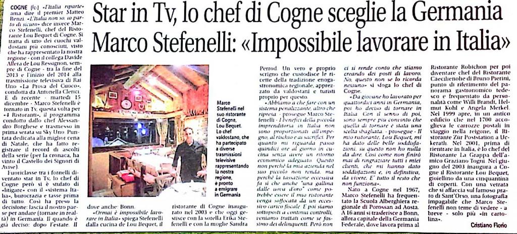 Artykuł ukazał się w lokalnej gazecie La Vallée Notizie 9 stycznia 2015 roku, strona 15.