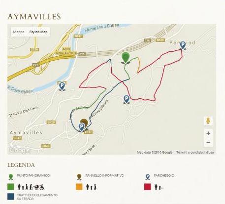 Szlak w Aymavilles pomiędzy winoroślami.