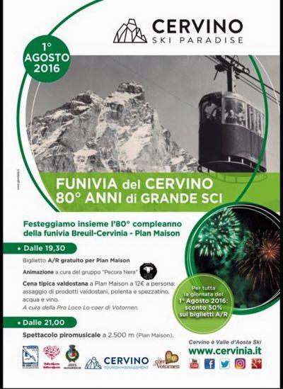 Program wydarzenia w Cervinii 1 sierpnia.