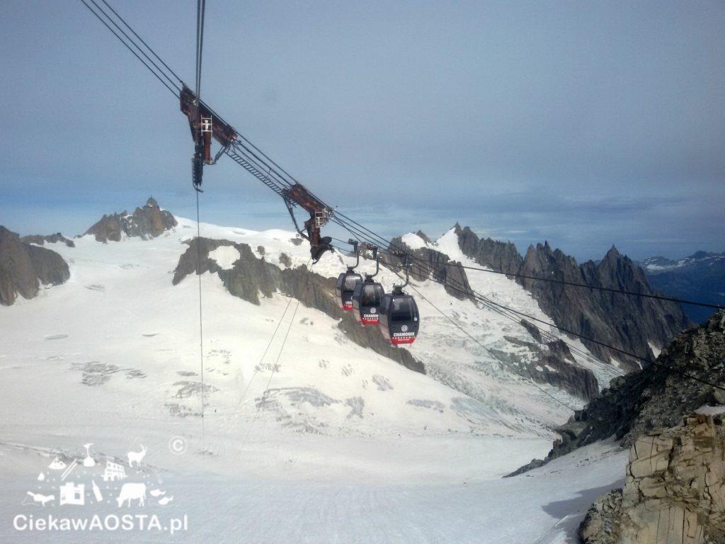 Kolejkę Panoramic Mont Blanc łączącą Punta Helbronner i Aiguille du Midi wybudowano w 1957 roku.