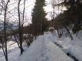 Szlak obok domu zimą