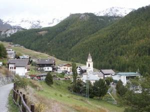 Miejscowość Chamois. Jedna z najwyżej położonych n.p.m. gmin we Włoszech.