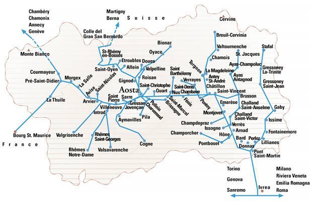 Mapa Doliny Aosty wraz z 74 gminami regionu. Źródło www.naturaosta.it