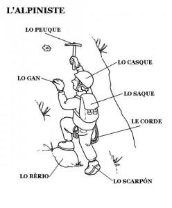 Materiały do nauki patois. Alpinista z ekwipunkiem.