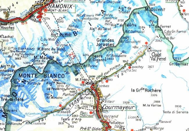 Mapa Val Ferret, doliny położonej u stóp Mont Blanc