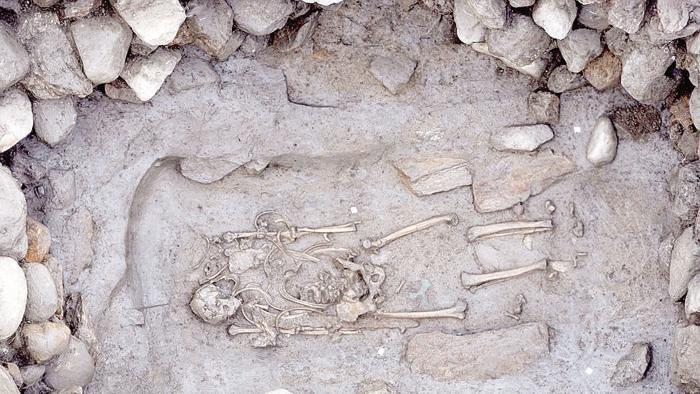 Szkielet celtyckiego wojownika znaleziony w Aoście. Źródło: TU