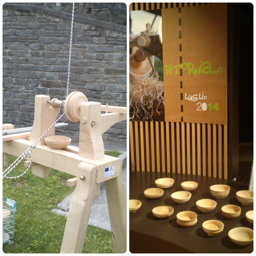 Po lewej odtworzona dawna maszyna używana do toczenia drewna i tworzenia wyrobów jak na zdjęciu po prawej.