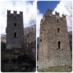 Zamek w Champorcher z charakterystycznymi blankami u szczytu.