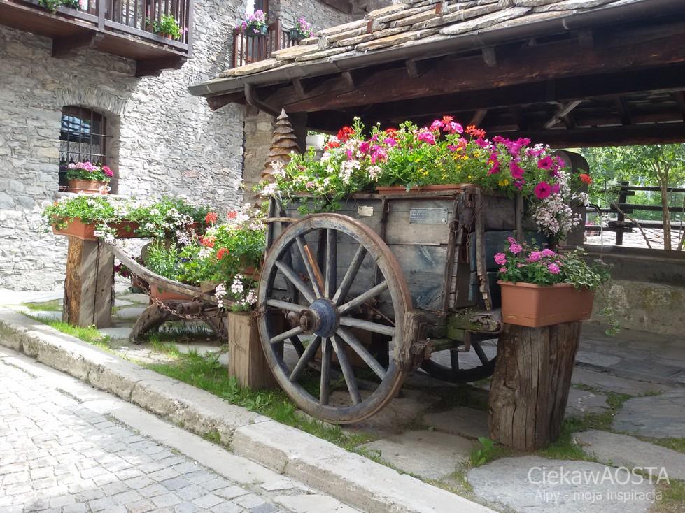 W borgo medievale Etroubles na każdym kroku są kwiaty.