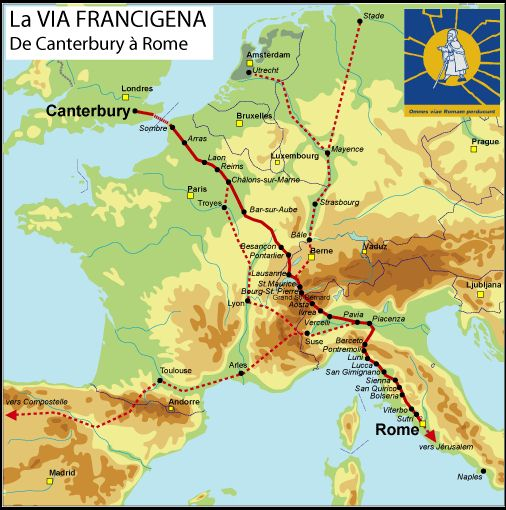 mapa via francigena