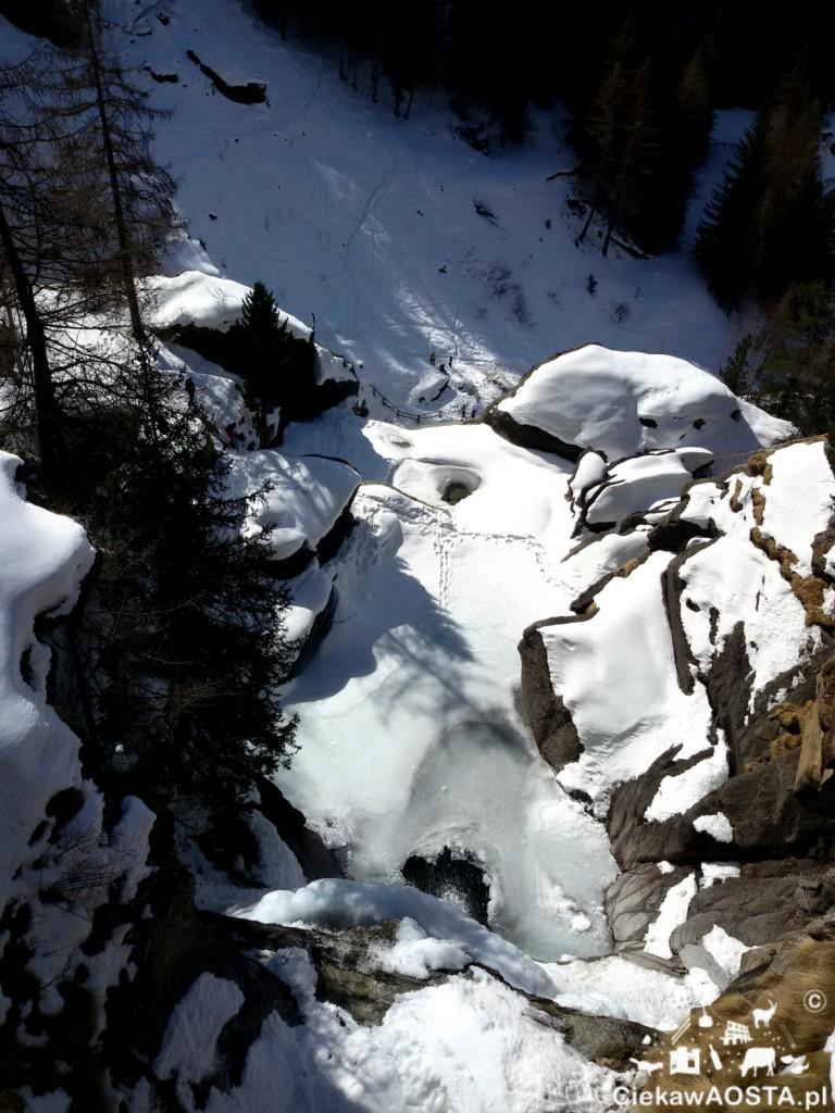 Wodospady w Lillaz zimą.