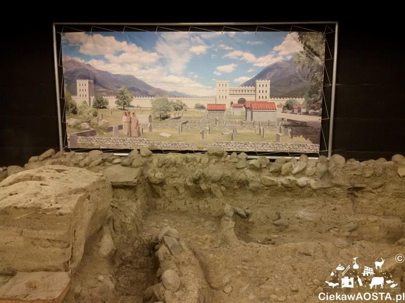Starożytne nekropolie. Na plakacie widoczne w oddali miasto Aosta. Tak to wyglądało kiedyś.