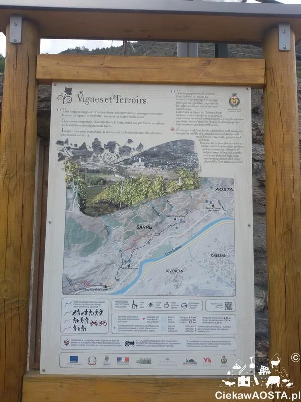 """Tablica informacyjna i promująca szlak w miejscowości Sarre w ramach projektu """"Vignes et terroirs""""."""