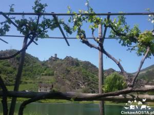 Jezioro Lac d'Argent w miejscowości Villeneuve. W tle ruiny zamku Châtel-Argent.