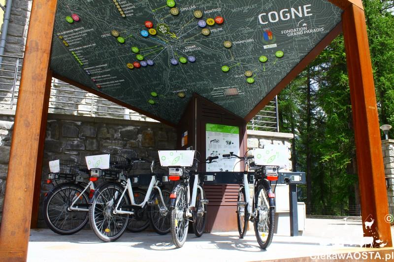 Punkt rowerów elektrycznych w Cogne.