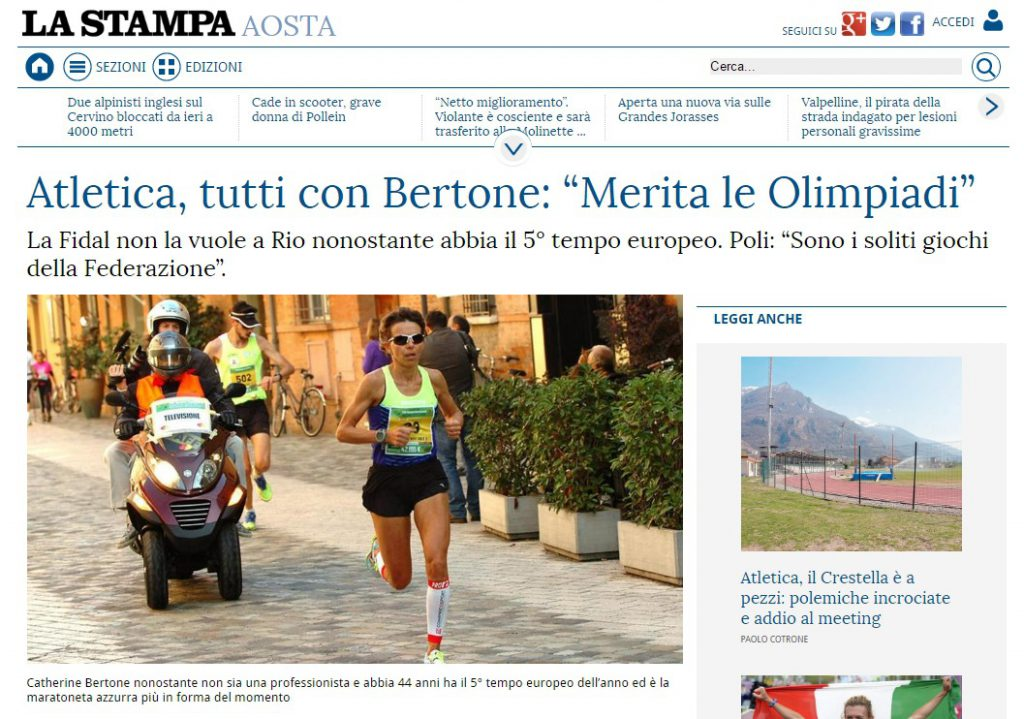 La Stampa z dnia 16 kwietnia 2016 roku o Catherine Bertone.