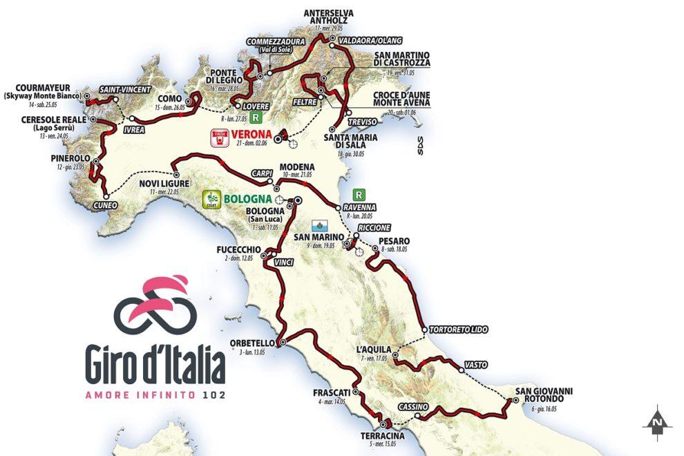 Mapa Giro d'Italia 2019